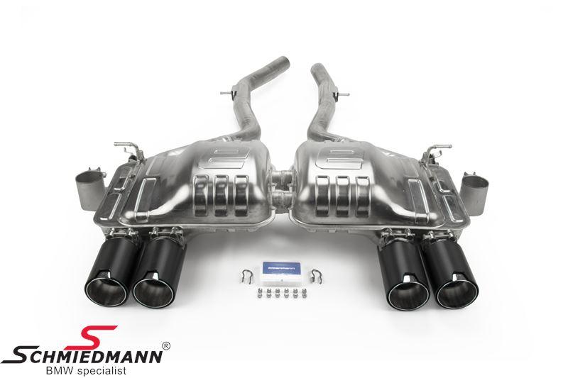 Eisenmann Sportendschalldämpfer mit schwarz Chrom/gebürstet Aluminium Endrohre 4XØ90MM