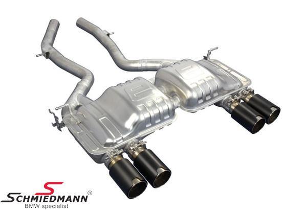 Eisenmann Sportendschalldämpfer mit schwarz Chrom/gebürstet Aluminium (Lemans slant cut) Endrohre 4XØ90MM