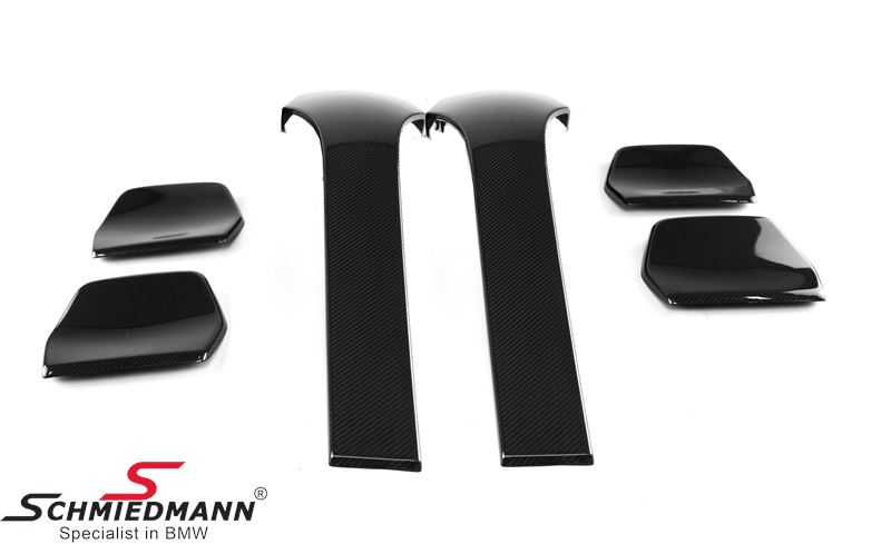 Cover set 4 pcs genuine black dry carbon, to be installed on the backside of the front seats, and on the backside of the rear neckrests