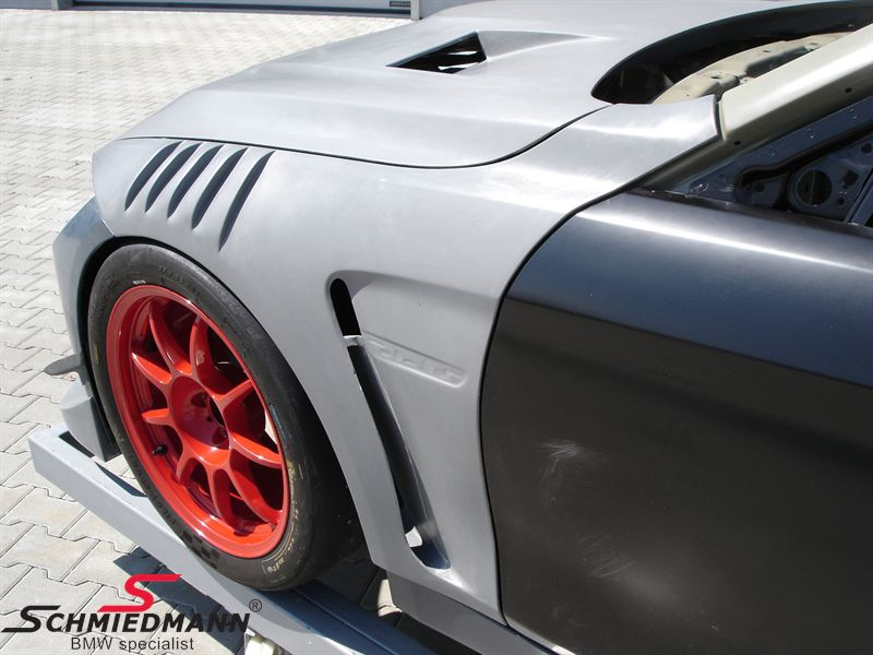 Frontfender set wide -GT4- with 2 airducts at each fender (1 pcs over the wheel), original Flossmann Germany