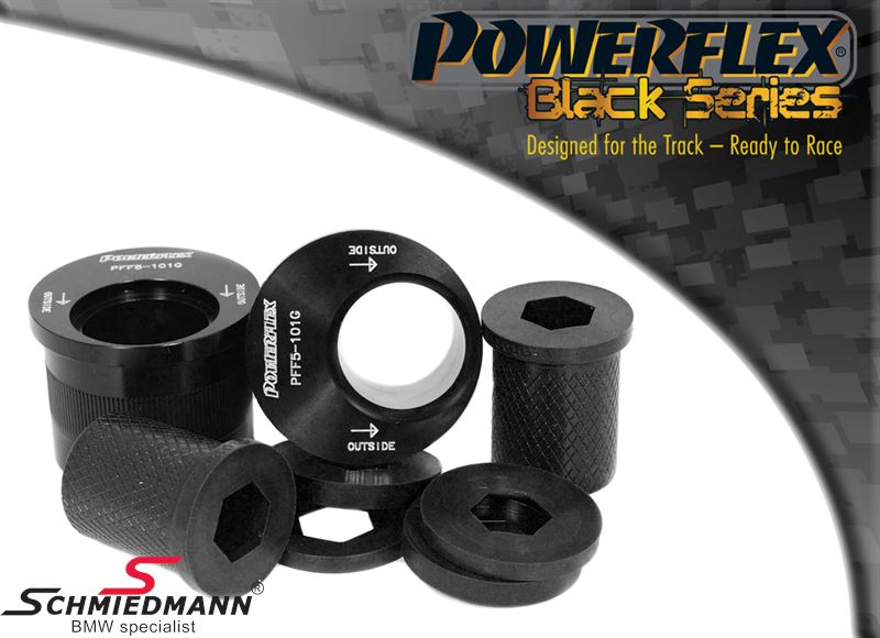 Powerflex Racing -Black Stuff- Querlenker Lager hi. VA Nachlaufkorrektur +2°