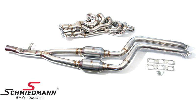 BMW E39 Schmiedmann High Flow Fächerkrümmer M52/M54 inkl. Sportkatalysatoren 400 Zellen  Euro3 D4 (auch passend für Rechtslenker)