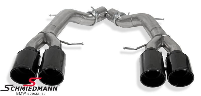 Schmiedmann Race -Black Edition- sport rear silencer replacement set with 4XØ100MM black rolled/angled, interchangeable tailpipes