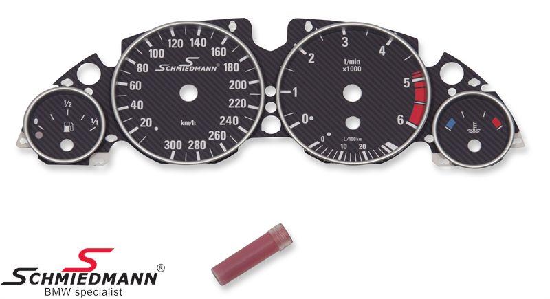 Schmiedmann spezial Tacho-Umbau-Satz (Matt-Carbon) inklusive Tacho-Erweiterung bis 300Km/h (ohne Fehlanzeige von der Geschwindigkeit)